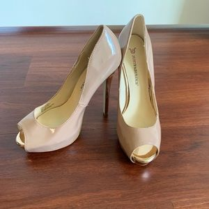 Tan with gold colored heels